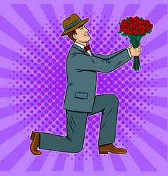 man gives flowers bouquet pop art vector image