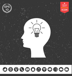 man silhouette with light bulb - new ideas icon vector image