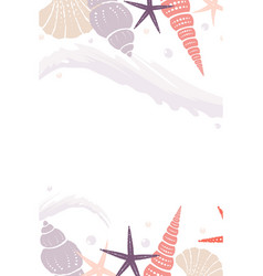 marine background with wave and shells vector image