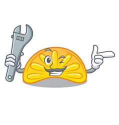 Mechanic orange jelly candy mascot cartoon vector