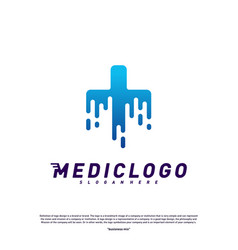 medical tech logo design concept colorful fast vector image