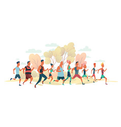 men and women running marathon race on nature vector image