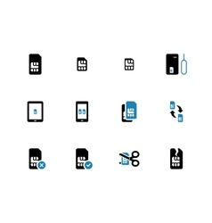 Mobile communications cards duotone icons on white vector