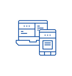 mobile control system line icon concept mobile vector image