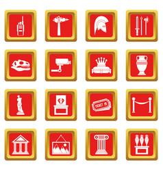 Museum icons set red vector
