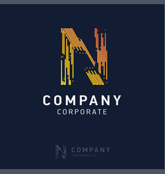 n company logo design with visiting card vector image