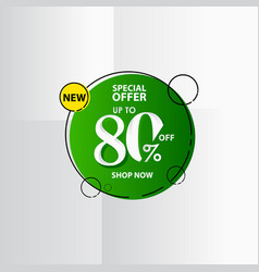 New discount label up to 80 special offer shop vector