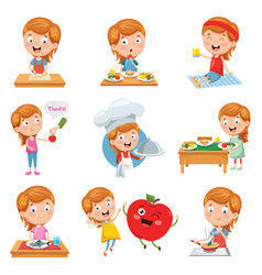 of little girl eating vector image