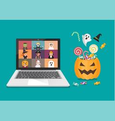 Online halloween party concept vector