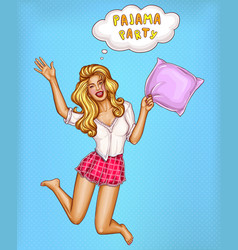 Pajamas party - pop art jumping girl vector