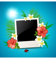 Photo and tropical flowers vector image
