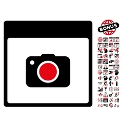 Photo Camera Calendar Page Flat Icon With vector image