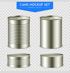 Realistic cylindrical cans mockup set vector