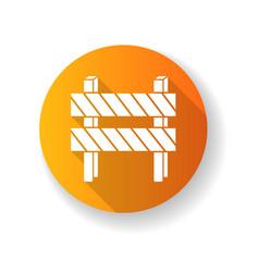 road barrier orange flat design long shadow glyph vector image