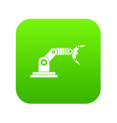 robotic hand manipulator icon digital green vector image