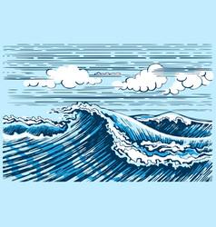 sea wave landscape graphics vector image