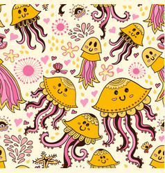 seamless pattern with cute jellyfishes vector image
