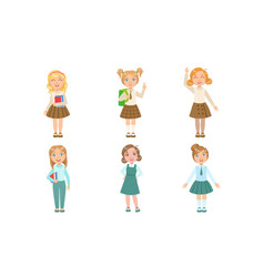 Set images girls in different school vector