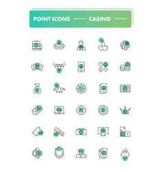 set of 30 line icons casino vector image