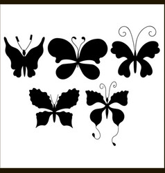 Set of silhouettes of cute cartoon butterfly vector