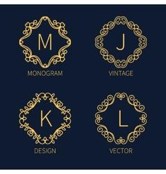 Set outline monograms frame vector image