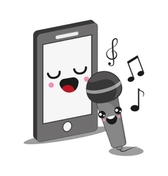 smartphone and microphone icon Kawaii and vector image