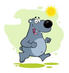 smiling gray bear cartoon character running vector image