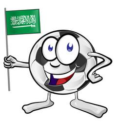 soccer ball cartoon with saudi arabia flag vector image