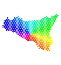 spectrum hexagon sicilia map vector image