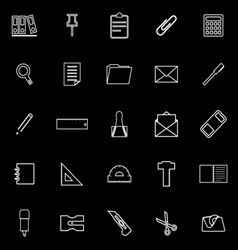 Stationery line icons on black background vector