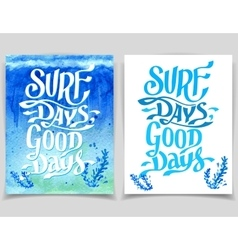 Surf days watercolor greeting cards vector