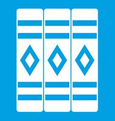 Three literary books icon white vector