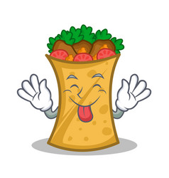 Tongue out kebab wrap character cartoon vector