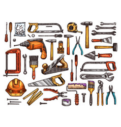 tool for construction and repair work sketch vector image