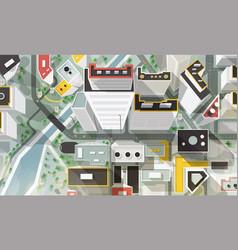 Top aerial or bird s eye view city vector