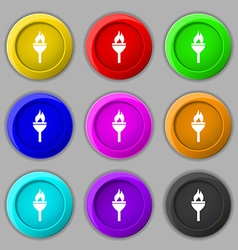 Torch icon sign symbol on nine round colourful vector