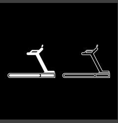 treadmill machine icon set white color flat style vector image