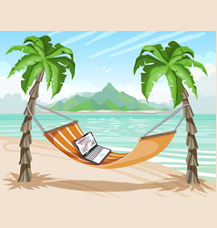 tropical island remote work laptop on hot vector image