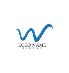 w letter wave logo template vector image