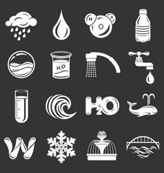 Water icons set grey vector