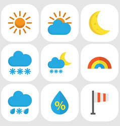 weather flat icons set collection of snow banner vector image