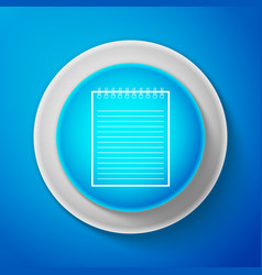 white notebook icon isolated on blue background vector image