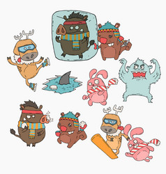 Winter animals cartoon set vector