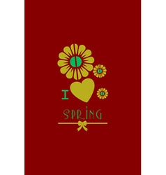 With heart flower spring and vector