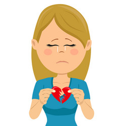 Young unhappy sad woman with a broken heart card vector