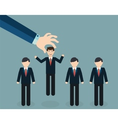 Businessman choosing worker from group of vector image vector image