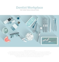 Dental care equipment symbols Teeth dentistry vector image