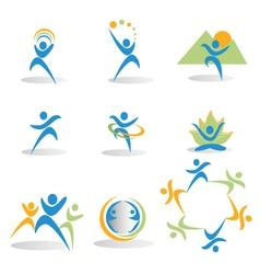 Health nature yoga business social icons logos vector image vector image
