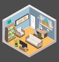 isometric room vector image vector image