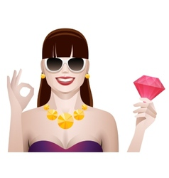 pretty woman with diamond isolated vector image vector image
